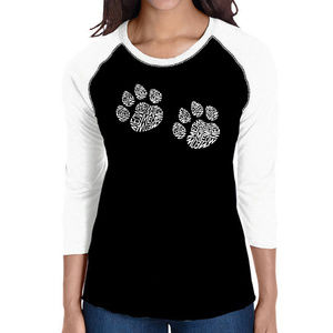 Women's Raglan Baseball Word Art  MEOW CAT PRINTS